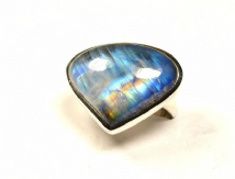 Teardrop Rainbow Moonstone Ring Silver Large  'One-Off' size P 1/2